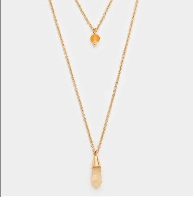 Gold Plated Double Layer Gold Tone Necklace