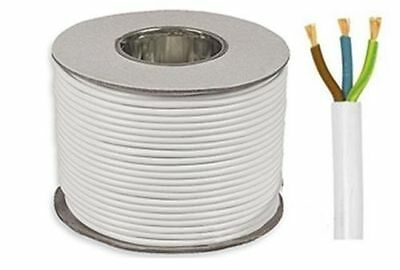 3183Y 3 Core 1.5mm 13 Amps White Round Mains Electrical Cable Wire By The Meter