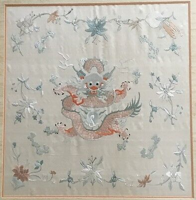 Fine Antique Chinese Silk Dragon Tapestry Embroidery Panel Qing Textile NO RES
