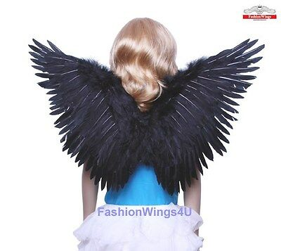 FashionWings Childrens Black Butterfly Style costume feather angel wings