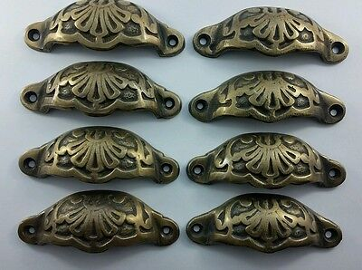 "8 Apothecary Drawer Cup Bin Pulls Handles Antique Victorian Style 3 9/16""  #A2"
