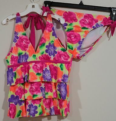 EUC Justice Girls Pink Ruffled Floral Two Piece Tankini Swimsuit Size 14