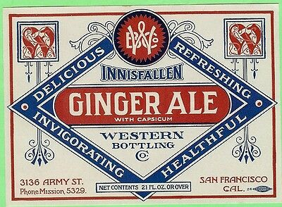 Innisfallen Ginger Ale Soda Label Western Bottling San Francisco California