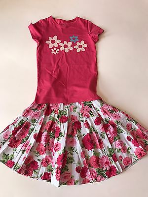 MINI BODEN Girls Coral Pink Floral Set Outfit Top Skirt Size 7-8 LOT