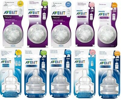 Philips Avent Natural, Classic+ Milk Bottle Teats Newborn Slow Medium Fast Flow