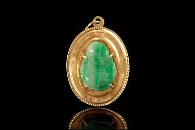 Vintage Chinese Carved Buddha Apple Green Jade 14K Gold Pendant (022617045)