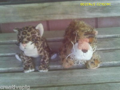 Pair of Two 2 Different Smaller Plush Wild Jungle Cats Leopards