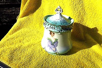 Vintage/antique Austria Porcelain Biscuit/cracker Jar W/ Victorian Ladies & Lid!