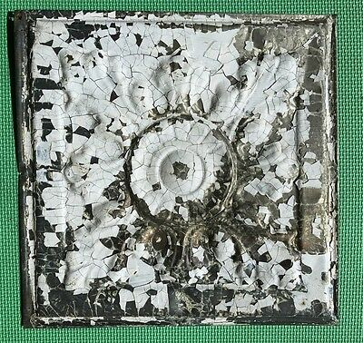 "12"" Antique Tin Ceiling Tile -- Chippy White Paint -- Large Flower Design -- A3"