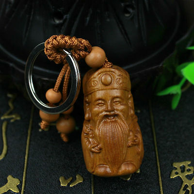 Wealth God Statue Wood 3D Carving Chinese Geomancy Sculpture Pendant Key Chain
