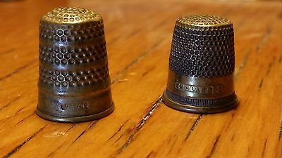 Vintage Antique 2 Brass Japan and England Thimbles