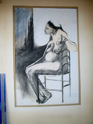 LP17 (A2) Vintage Charcoal Drawing on Paper Pregnant Nude Unsigned
