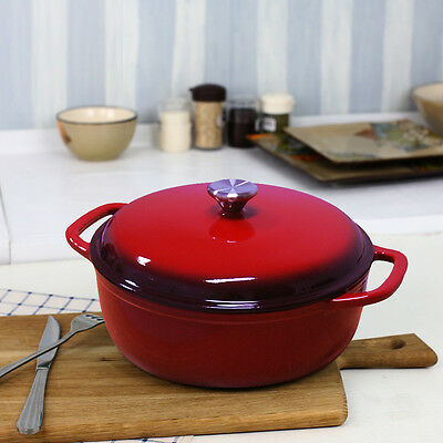 NEW Enameled Cast Iron 6 Qt Covered Round Dutch Oven Red