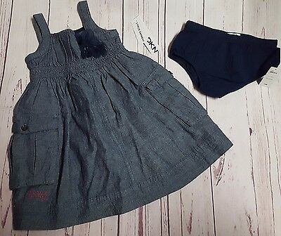 New Nwt Dkny Baby Girls 18 Mos Blue Chambray Dress Summer Spring