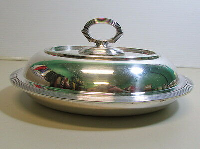 Vintage  Silver Plate Covered  Oval Serving Bowl