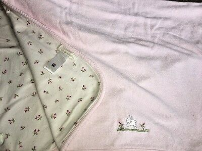 Stacy Claire Boyd Pale Pink Baby Blanket Embroidered Bunny Flowers 26.5 x 35.5