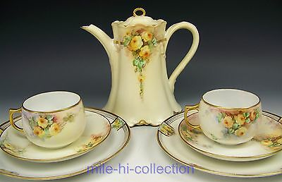 Limoges Hand Painted Roses Tea Coffee Pot Trio Cups Saucers Set Artist Zimmemnan