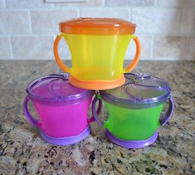 3 of MUNCHKIN Snack Catchers Cup (9oz) Pink, Green & Yellow