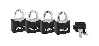 Master Lock 121Q 3/4in. 4 Pc. Wide Covered Solid Body Padlock, Black