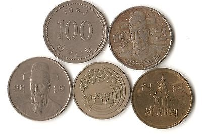Lot of five South Korea coins, 10, 50, and 100 won, dated 1973 - 2005