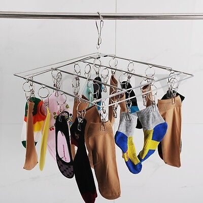 Clothes Laundry Hanging Dryer Hanger 26 Clips Stainless Steel Sock Bra Underwear