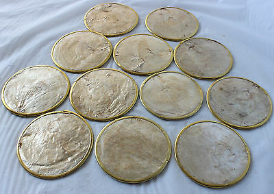 Set 12 Mother of Pearl Vintage Coasters Retro Cork back