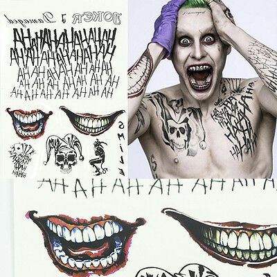 Halloween The Joker Temporary Tattoos Sticker Suicide Squad Costume Fancy Dress