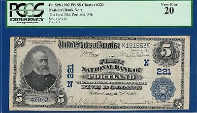 1902 $5 First National Bank of Portland Maine Ch. #221 PCGS Very Fine VF 20 C2C