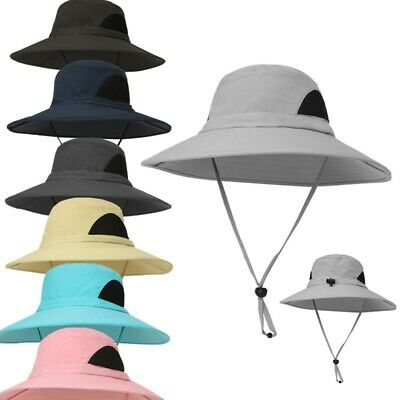 Mens Women Wide Brim Outdoor Camping Fishing Caps Breathable Sun Boonie Hat