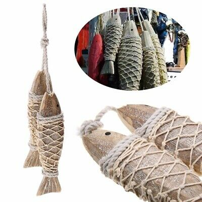 2Pcs Wooden Wood Hanging Fish Coastal Village Handicrafts Nautical Wall Decor