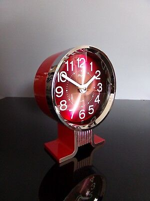 Rhythm clock alarm chrome reveil 80's vintage japan