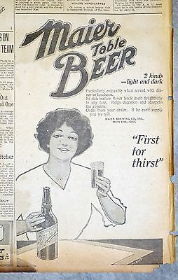 1914 Los Angeles Newspaper Page - Maier Brewing Table Beer Ad - First For Thirst