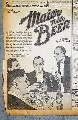 1914 Los Angeles Newspaper Page - Maier Table Beer Ad - 2 Kinds ..  Light & Dark