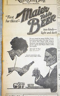 1914 Los Angeles Evening Herald Newspaper Page - Maier Brewing Table Beer Ad