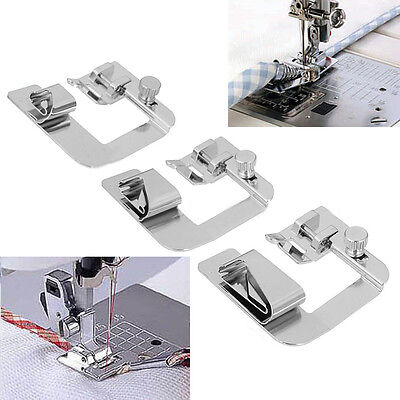 3 Sizes Wide ROLLED HEM Hemmer Foot For Domestic Sewing Machines Snap on Presser