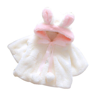 Baby Infant Girls Fur Winter Warm Coat Cloak Jacket Thick Warm Clothes White 90