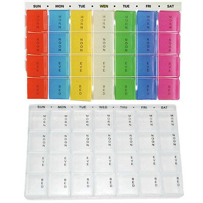 Weekly Pill Box Daily Organiser Medicine Tablet Storage Dispenser 7 Day Week