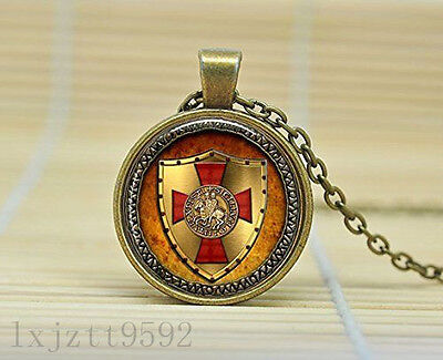The Knights Templar Pendant Necklace Glass Cabochon Necklace jewelry