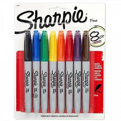 Sharpie Fine Point Permanent Markers 8 Pack Assorted Colors FREE P&P