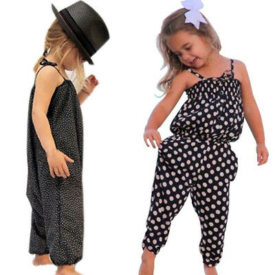 Toddler Kids Baby Girls Summer Romper Jumpsuit Harem Pants Trousers Clothes 1-7Y