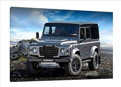 Landrover Defender 90 - 30x20 Inch Canvas Framed Picture Print Wall Art