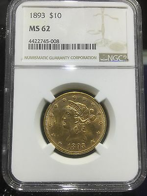 1893 $10 Gold Liberty Pre-33 Type Gold NGC MS 62
