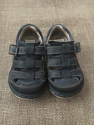 Clarks Toddler Boys Navy Blue Leather Shoes Size 7