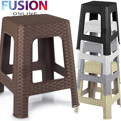 New Large Plastic Rattan Step Stool Indoor Outdoor Home Kitchen Garden Chair