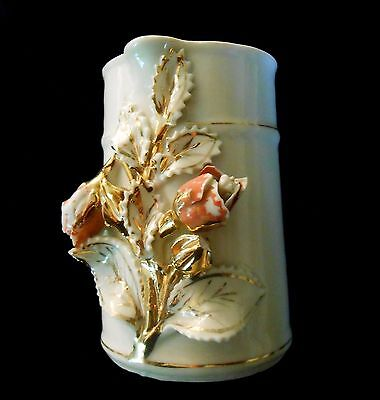 Creamer Antique Ceramic with Pink and Gold Roses Relief Hand Painted