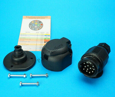 13 Pin Towing Plug & Socket with Gasket Seal Trailers & Caravans   #TR