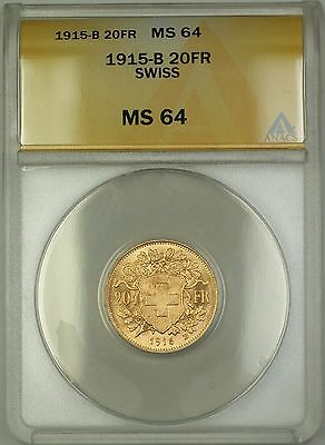 1915-B Switzerland 20 FR Francs Gold Coin ANACS MS-64