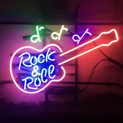 """17""""x14"""" Rock and Roll Live Music Real Glass Neon Light Beer Bar Pub Club Sign"""