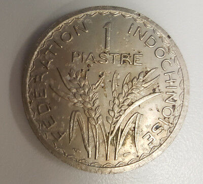 French Indochina 1 Piastre 1946 Reeded Edge