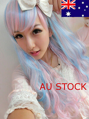 Anime Harajuku Wigs Curly Wavy Heat Resistant Mixed Hair Cosplay Party Synthetic
